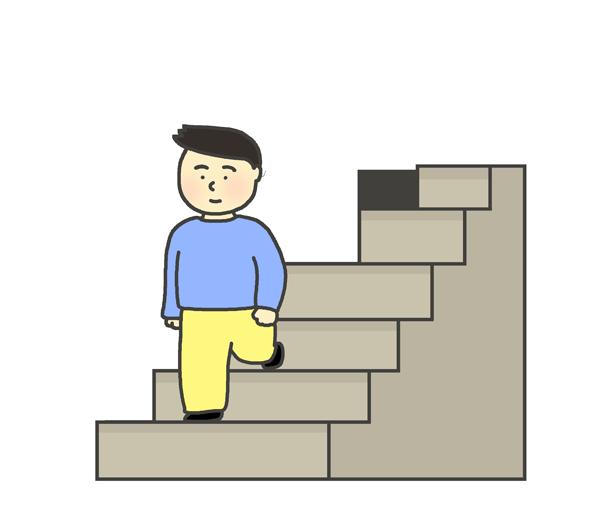 階段をおりる男性のイラスト