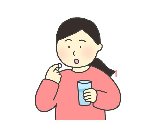 錠剤を飲む女性のイラスト
