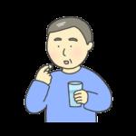 錠剤を飲む中年男性のイラスト