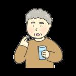 薬を飲んでいるおばあさんのイラスト
