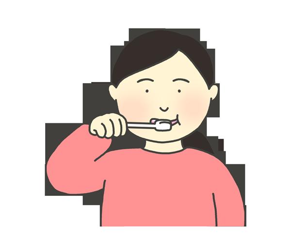 歯磨きをする女性のイラスト