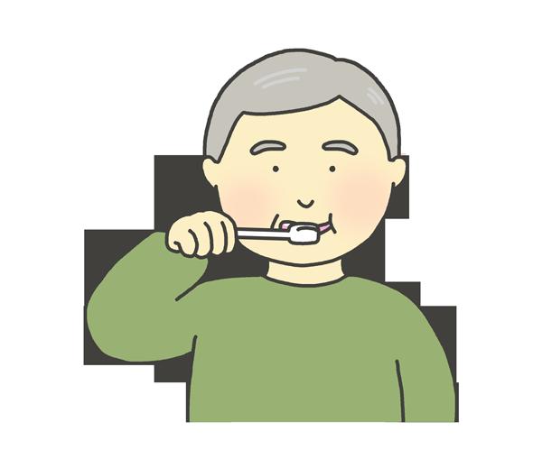 歯磨きをする男性のイラスト