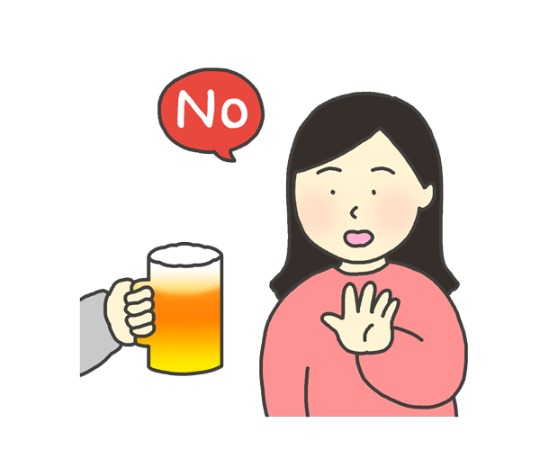 お酒を断る女性のイラスト