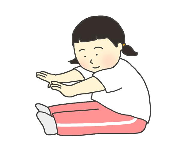 ストレッチをする女の子(子ども)のイラスト