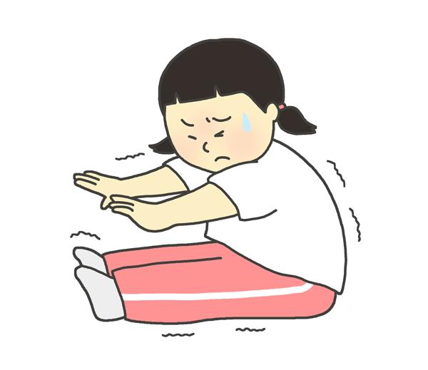 身体の固い女の子(子ども)のイラスト