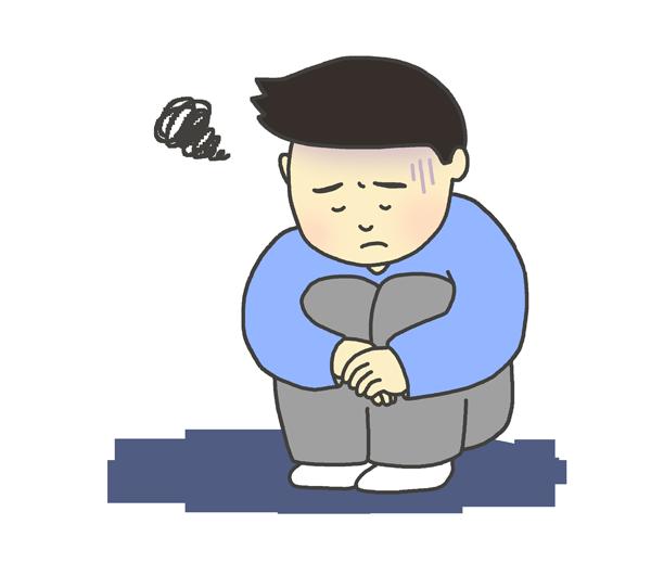 憂鬱な男性のイラスト