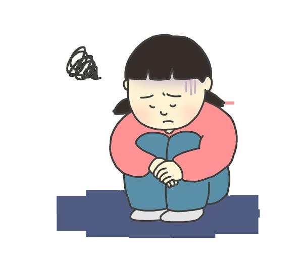 憂鬱な表情の女の子(子ども)のイラスト