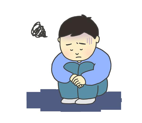 憂鬱な表情をしている男の子(子ども)のイラスト