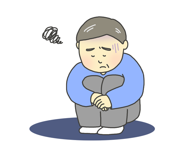 憂鬱な表情のおじさんのイラスト