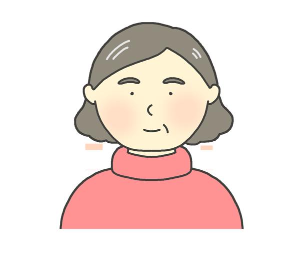 タートルネックを着ている中年女性のイラスト