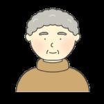 タートルネックを着ているおばあさんのイラスト