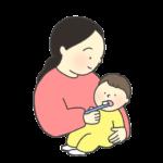 赤ちゃんの歯磨きのイラスト