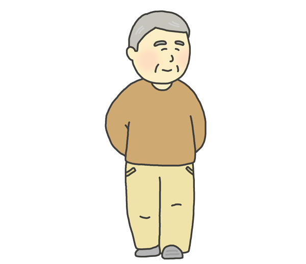 散歩をしているおじいさんのイラスト