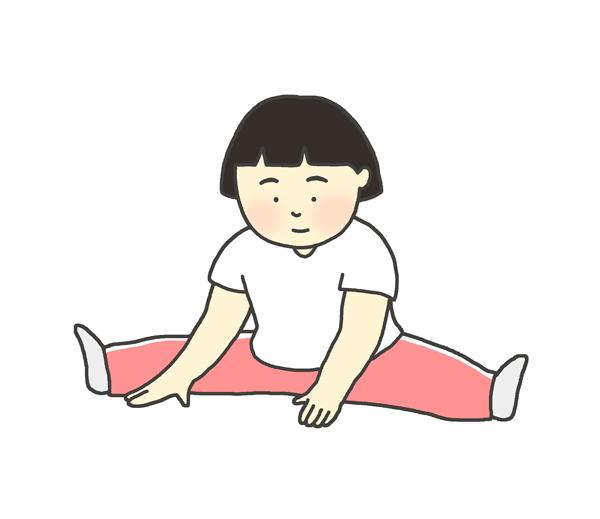 ストレッチをしている女の子のイラスト