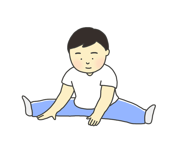 ストレッチをしている男の子のイラスト
