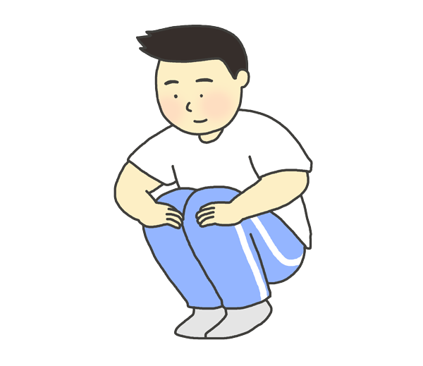 膝曲げ屈伸のイラスト(男性)