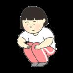 膝の屈伸運動をする女の子のイラスト