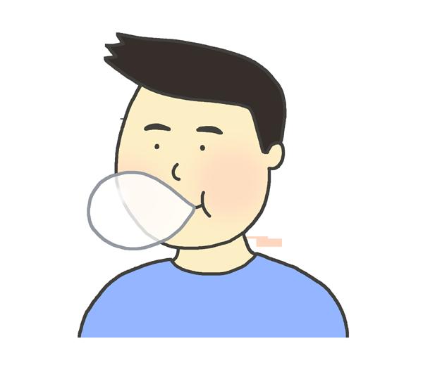 ガムを噛んでいる男性のイラスト