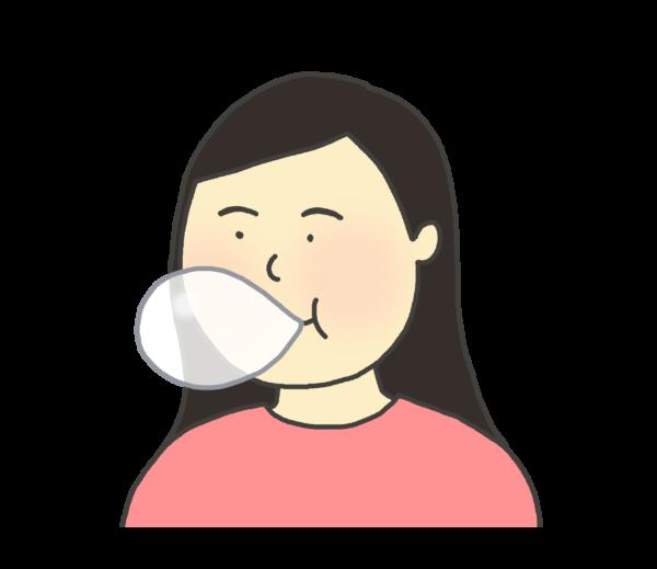 ガムを噛む女性のイラスト