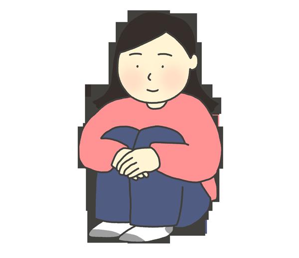 体育座りをする女性のイラスト