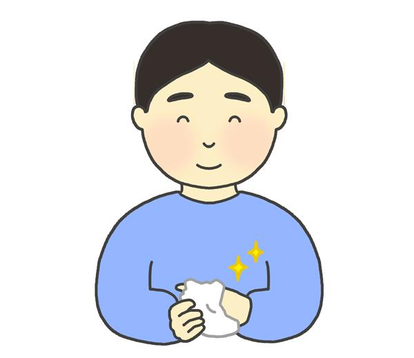 おしぼりで手をふく男性のイラスト