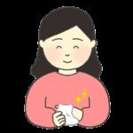 おしぼりで手をふく女性のイラスト