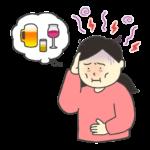 二日酔いの女性のイラスト