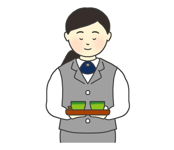 お茶を出す女性社員のイラスト