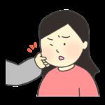 ほっぺたをつねられている女性のイラスト